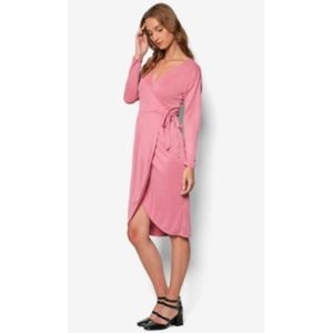 TOPSHOP Dark Rose long sleeve wrap Dress sz 8